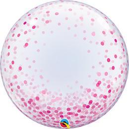 24 inch-es Pink Konfetti Pöttyös Mintás Deco Bubble Lufi