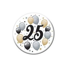 25-ös Elegáns Léggömbös Szülinapi Számos Parti Kitűző - 5,5 cm