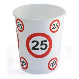 25-ös Számos Sebességkorlátozó Szülinapi Papír Parti Pohár - 250 ml, 6 db-os