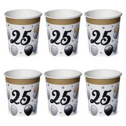 25-ös Számos Szülinapi Elegáns Léggömbös Parti Papír Pohár - 250 ml, 6 db-os