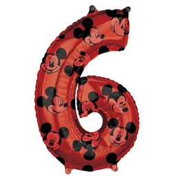 26 inch-es Mickey Egér - Mickey Mouse Mintás Number 6 Red Számos Fólia Lufi