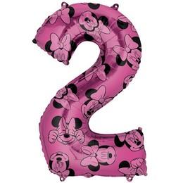 26 inch-es Minnie Egér - Minnie Mouse Mintás Number 2 Pink Számos Fólia Lufi