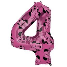 26 inch-es Minnie Egér - Minnie Mouse Mintás Number 4 Pink Számos Fólia Lufi