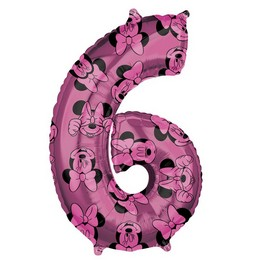 26 inch-es Minnie Egér - Minnie Mouse Mintás Number 6 Pink Számos Fólia Lufi