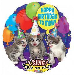 28 inch-es Happy Birthday Macskás Éneklő Szülinapi Fólia Lufi