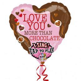 28 inch-es Love You Than Chocolate Éneklő Szerelmes Szív Fólia Lufi