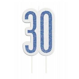 30-as Csillámos Kék Szülinapi Parti Számgyertya