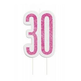 30-as Csillámos Pink Szülinapi Parti Számgyertya