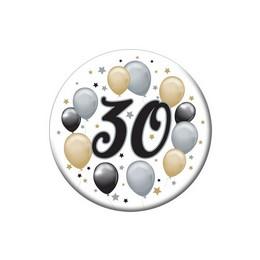 30-as Elegáns Léggömbös Szülinapi Számos Parti Kitűző - 5,5 cm