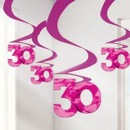 30-as Lila Szülinapi Spirális Függő Dekoráció - 5 db-os