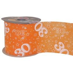 30-as Narancssárga Szülinapi Dekorációs Szalag (12,5 cm x 50 m)