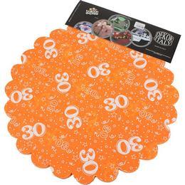 30-as Narancssárga Szülinapi Kerek Dekorációs Textil - 48 cm, 24 db-os