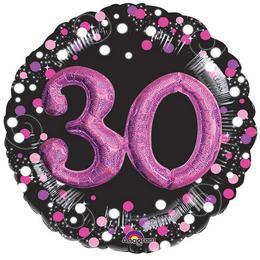 32 inch-es 3D - Sparkling Birthday 30 Pink Super Shape Fólia Lufi