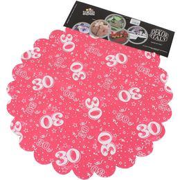 30-as Pink Szülinapi Kerek Dekorációs Textil - 48 cm, 24 db-os