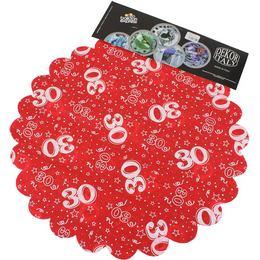 30-as Piros Szülinapi Kerek Dekorációs Textil - 48 cm, 24 db-os