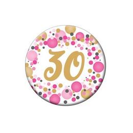 30-as Rózsaszín Pasztell Konfettis Szülinapi Számos Parti Kitűző - 5,5 cm