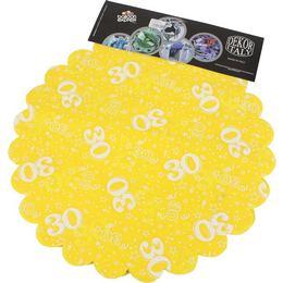 30-as Sárga Szülinapi Kerek Dekorációs Textil - 48 cm, 24 db-os