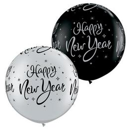 30 inch-es New Year Sparkle-A-Round Black/Silver Szilveszteri Lufi (2 db/csomag)