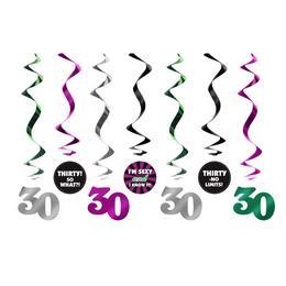 30-as Számos Szülinapi Spirális Függő Dekoráció