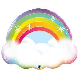 32 inch-es Szivárvány Felhővel - Rainbow Fólia Lufi