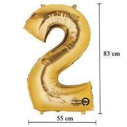 34 inch-es 2 - Arany Számos Super Shape Fólia Lufi