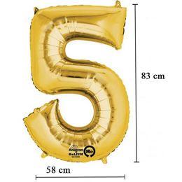 34 inch-es 5 - Arany Számos Super Shape Fólia Lufi