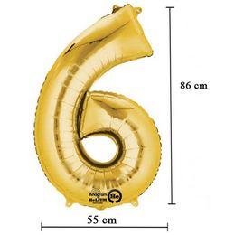 34 inch-es 6 - Arany Számos Super Shape Fólia Lufi