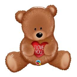 35 inch-es Teddy Mackó Szívvel - I Love You Teddy Bear Super Shape Fólia Lufi