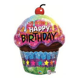 35 inch-es Birthday Dazzling Cupcake Holografikus Szülinapi Fólia Lufi