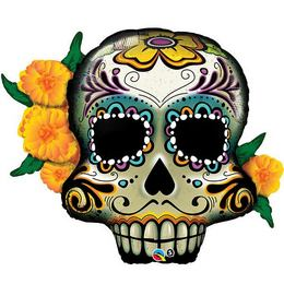 38 inch-es Day of the Dead Skull Fólia Lufi Halloween-re