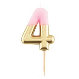 4-es Fényes Pink Arany Szülinapi Számgyertya