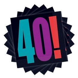 40-es Birthday Cheer Szülinapi Parti Szalvéta - 33 cm x 33 cm, 16 db-os