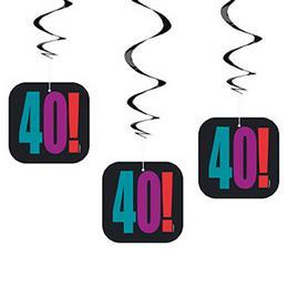 40-es Birthday Cheer Szülinapi Parti Spirális Függő Dekoráció, 3 db-os