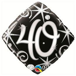 18 inch-es 40-es Elegant Sparkles and Swirls Szülinapi Számos Fólia Lufi