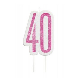 40-es Csillámos Pink Szülinapi Parti Számgyertya
