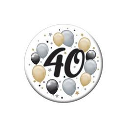40-es Elegáns Léggömbös Szülinapi Számos Parti Kitűző - 5,5 cm
