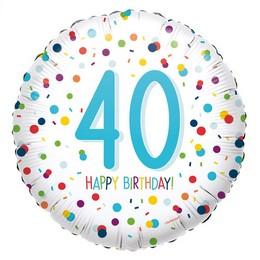 18 inch-es 40-es Konfetti Mintás - Confetti Birthday 40 Fólia Lufi