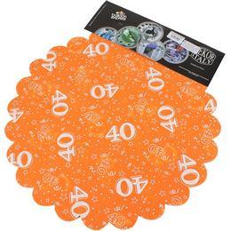 40-es Narancssárga Szülinapi Kerek Dekorációs Textil - 48 cm, 24 db-os
