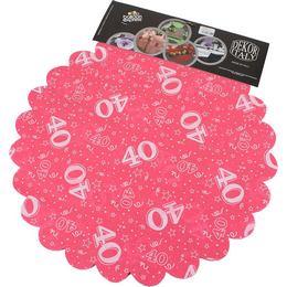 40-es Pink Szülinapi Kerek Dekorációs Textil - 48 cm, 24 db-os