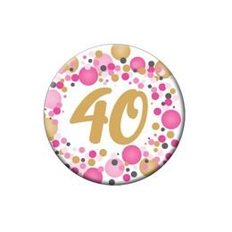 40-es Rózsaszín Pasztell Konfettis Szülinapi Számos Parti Kitűző - 5,5 cm