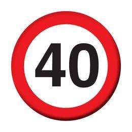 40-es Sebességkorlátozó Szülinapi Számos Kitűző - 5,5 cm