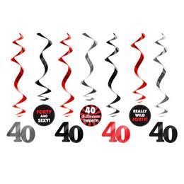 40-es Számos Szülinapi Spirális Függő Dekoráció