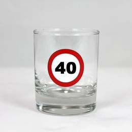 40-es Számos Sebességkorlátozó Szülinapi Whiskey-s Üvegpohár