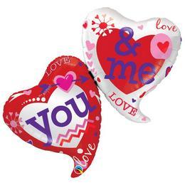 42 inch-es You & Me Hearts Super Shape Szív Fólia Lufi