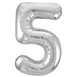 34 inch-es 5 Ezüst - Silver Számos Super Shape Fólia Lufi