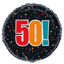 18 inch-es 50-es Birthday Cheer Fólia Lufi Szülinapra