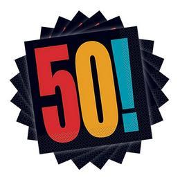 50-es Birthday Cheer Szülinapi Parti Szalvéta - 33 cm x 33 cm, 16 db-os