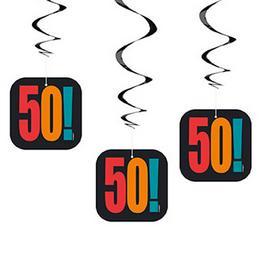 50-es Birthday Cheer Szülinapi Parti Spirális Függő Dekoráció, 3 db-os