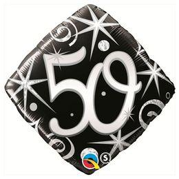 18 inch-es 50-es Elegant Sparkles and Swirls Szülinapi Számos Fólia Lufi