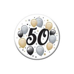 50-es Elegáns Léggömbös Szülinapi Számos Parti Kitűző - 5,5 cm